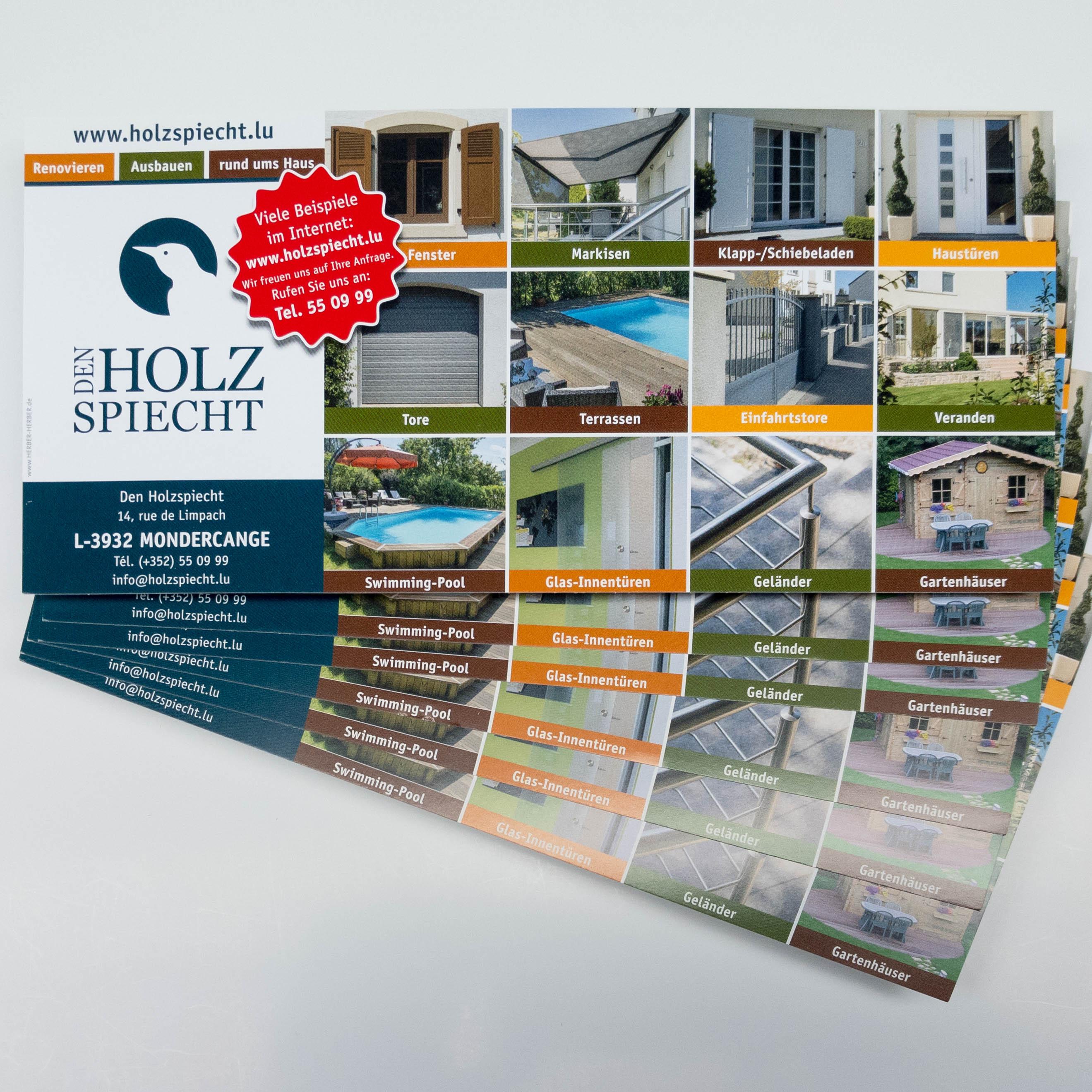 Flyer Rechnungsbeilage Holzspiecht | Herber-Herber